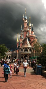 big black clouds and a  castle